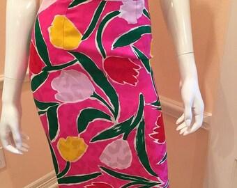 vintage silk floral skirt pink