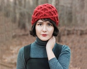 Red Thick Winter Beanie - Crochet Hat- Textured Chunky Beanie - Woman's Accessories - Geometrical Winter Hat in Dark Red | The Triton Hat |