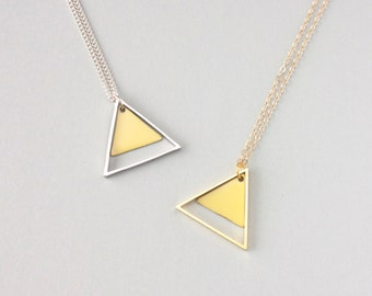 Large Two Triangle Metal Necklace (Yellow) - Modern Handmade Jewellery
