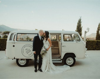Sticker personalized wedding industrial / rustic / Bohemian chic car decal