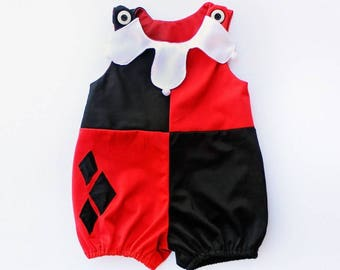 Toddler Harley Quinn Costume Romper Shorts Jumpsuit - Sz 1 - Handmade Ready to Ship