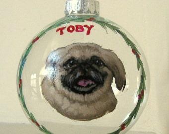 Pekinese, Pet Memorial, Dog Ornament, Custom Pet Portrait, Pet Rememberance, Personalized Dog, Christmas Decoration, Original Art, Dog Decor