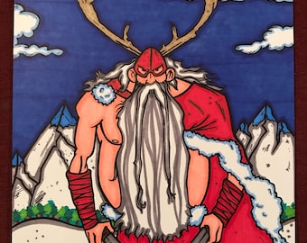 Warrior Santa Clause Marker Print ~ 9 in x 12 in