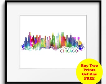 Chicago Skyline, Watercolor Art Print (011)Chicago Cityscape, Illinois Art Print, Chicago, USA Art Print, Chicago Art Print, Chicago Poster