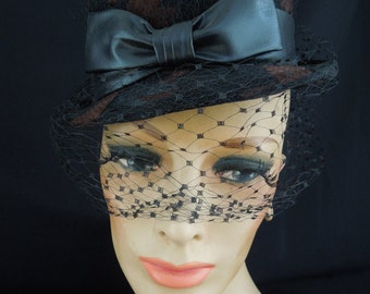 1960/70's Bowler Style Hat with Veil