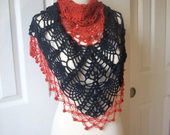 Free shipping, gift under 30,  Handknit crochet Triangle Large Shawl - scarf - collar - Capelet - Cowl - Mother's day gift