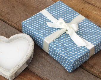 Heart Print Reusable Fabric Gift Wrapping, Dusky Blue with Attached Ribbons