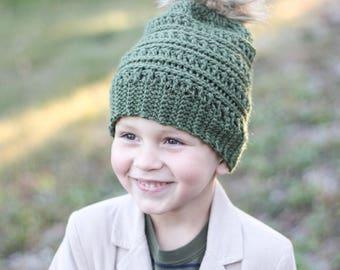 Green Pom Pom Beanie/ Green hat/ Pom Pom beanie/ Boys winter hat/ Girls winter hat/ Womens hat/ Crocheted hat/