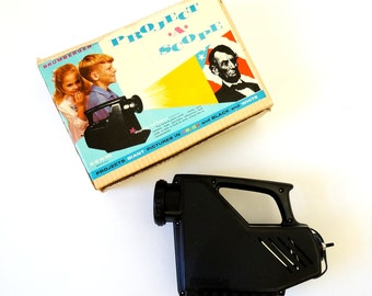 Vintage 1960s Toy / Brumberger Project-A-Scope Electric Projector in Box / Magnifies and Projects Prints, Stamps, Coins, Maps and More