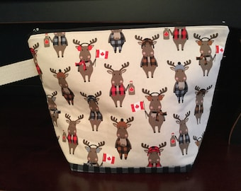Canada, eh? Moose and maple syrup, Zippered Knitting Project Bag