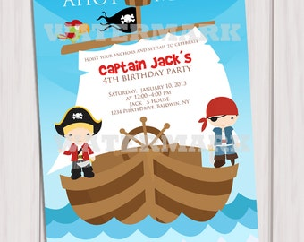 Pirates Birthday Party Invitation Personalized Printable / Pirates Invitation / Digital Printable Invitation