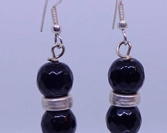 Black agate, sterling silver earrings.