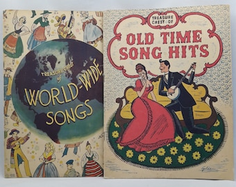 Two Vintage Songbooks | 1935 Treasure Chest of Old Time Song Hits | 1936 Treasure Chest of World-Wide Songs | Piano and Vocal Music