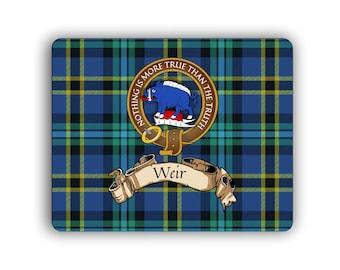 Weir Scottish Clan Tartan Crest Computer Mouse Pad