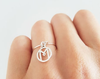 Initials ring, personalized ring, name ring, letter ring, custom initial ring, silver initial ring, custom name ring, dainty initial ring