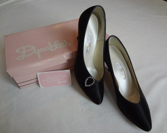Dyeables Black Satin Pumps in Prima Donna Style