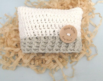 Baby Hat, Square Baby Hat, Wood Button Hat, Hospital Photo Prop, Baby Gift, Baby Shower Gift, Ready To Ship