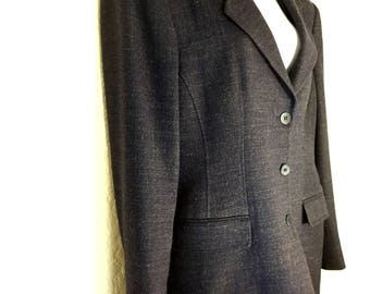 Woman's Barney's New York Made in Italy 3 Button Long Blazer Jacket sz 12 Vintage 1990's