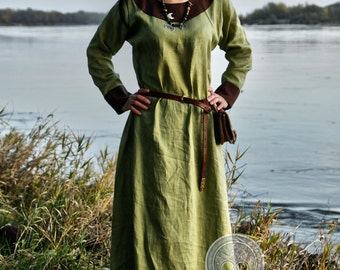 Early Medieval linen underdress gown,  100% linen. Viking costume, reconstruction.