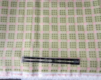 Cotton Fabric.  Mumms The Word by Debbie Mumm for South Seas Fabric. Pink and green plaid fabric.  One and half yard.