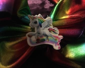Large rainbow unicorn hair clip