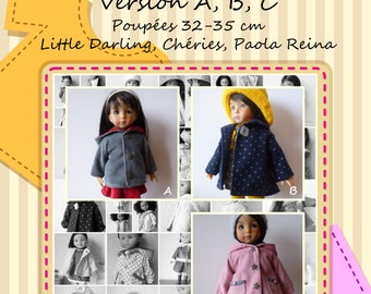 Coat pattern for dolls Little Darling of Diana Effner - 3 models with tutorials