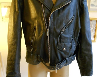 "1980s leather moto  42"" chest, black  leather motorcycle jacket"