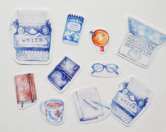 Blogger & Writer Sticker Set   Gifts for Writers   Handmade Art Journal Stickers Vintage Watercolour   Writing, Blogging, Typewriter