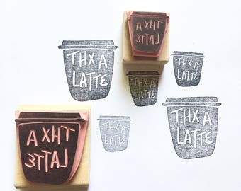 Thank you stamp, thanks stamp, coffee stamp, funny stamp, teacher stamp, thanks a latte, teacher gift, coffee cup, thank you, coffee art