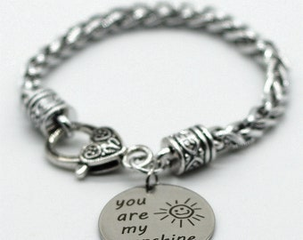 Antique Silver Tone Braid Inspiration Bracelet, You Are My Sunshine, Handmade in USA, SB06