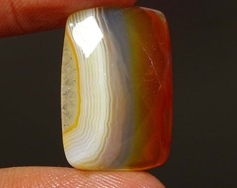 20.40 Cts Natural BOTSWANA Banded Agate Rectange Shape Faceted 1 Piece 24x15x6 MM Size Loose Gemstone AAA | G7527