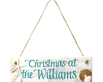 Beach Christmas Wood Plaque Personalised
