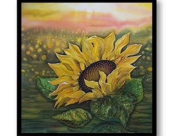 Sunflowers Field Painting Fine Art Print Sunflower Painting Yellow Green Landscape Wall Decor Bedroom Bathroom Living Room Poster