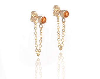 Stone and Chain Earrings - Citrine Gemstones - 14k Gold Filled - Dangling Earrings - Stud and Chain
