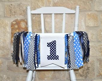 Boys navy blue, light blue & gray first birthday highchair banner, fabric ONE rag banner, cake smash photo prop, high chair rag garland