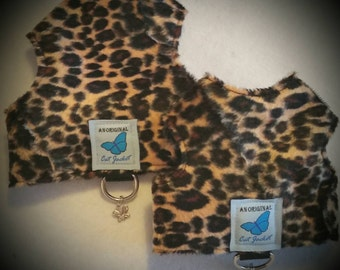 "Escape proof when sized and fitted correctly, Faux Fur Leopard ""Butterfly Cat Jackets"" walking harness, jacket, holster, vest"