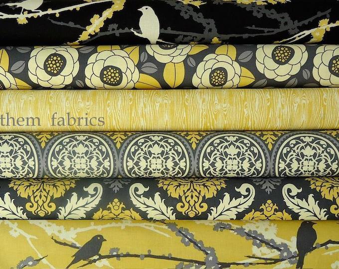 Joel Dewberry Aviary 2 - cotton fabric bundle Granite color palette set, 6 fat quarters
