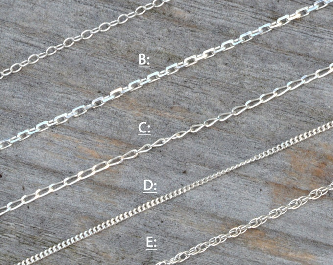 "Solid Sterling Silver Chain, Trace, Diamond Cut Trace, Diamond Cut Curb, Curb And Rope, 14"", 16"", 18"", 20"", 22"", 24"", made in England"