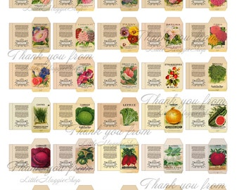 Miniature Seed Plant Packet digital printable sheet for dollhouse garden 1:12 scale DOWNLOAD