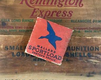 Vintage Mallard SPORTLOAD 16 Gauge Shotgun Shell Box / Sears Roebuck and Co / Goose / Duck