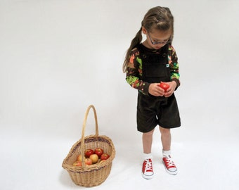 Kids overalls dungarees shorts outfit chocolate brown cotton corduroy retro cute short all in one smart funky childrens play clothing woods