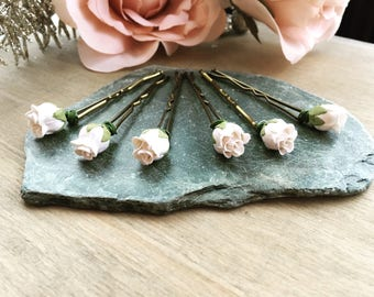Pretty Boho Flower Rose Bud Hair Pins Clips Hair Piece Bridal Bridesmaid Flowergirl Gifts