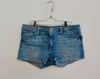 "Denim Cutoffs - Ralph Lauren Denim Cutoffs - Blue Jean Cut Offs - Size 34"" - Handmade Cutoff Jeans - Summer Fashion - Denim Shorts"
