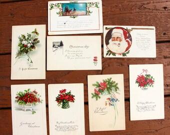 8 very old christmas postcards