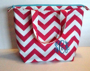 Extra Large Lunch Bag, Insulated, Womens Lunch Bag, Monogrammed, Personalized Lunch Bag, Made to Order, Zip Closure, Choose Your Colors