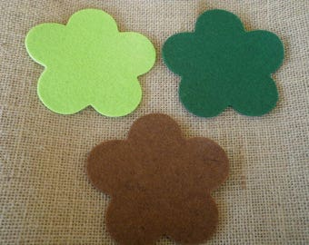 Set of 3 flowers in felt, Brown and green color, size 10 cm
