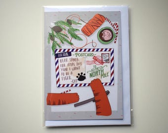 Dear Santa Cat Christmas card, Cat Christmas, Cat Christmas Card, Cute Card, Funny Card, Greeting Card, Cat Illustration, From Cat