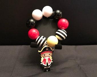 Girls Chunky Bubblegum Style Pirate Bracelet