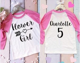 Flower Girl Shirt. Custom Flower Girl Tee. Wedding Shirt. Flower Girl Baseball Shirt. Flower Girl Shirt with Arrow Design. Bridal Party