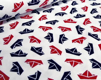 Cloth Cotton Jersey Ships Marine maritime pressure White Red Navy little Darling (15.40 EUR/meter)